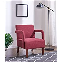 IDS Accent Chair with Arms, Upholstered Fabric Wood Legs, Modern Slipper Chair for Bedrooms Reception Lounge, RED