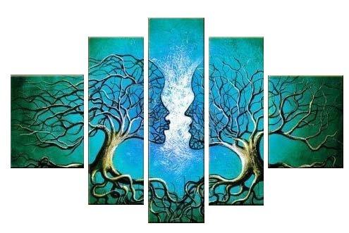 Santin Art - Wood Framed on the Back Wall Art Blue Tree Huma