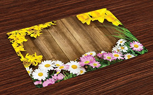 Lunarable Rustic Place Mats Set of 4, Collection of Various Kind of Flower Fresh Long Grassland Frame Daisy Easter Theme, Washable Fabric Placemats for Dining Room Kitchen Table Decoration, Multicolor