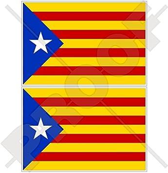 Catalonia catalan independence blue flag spain estelada blava spanish 4 100mm vinyl bumper
