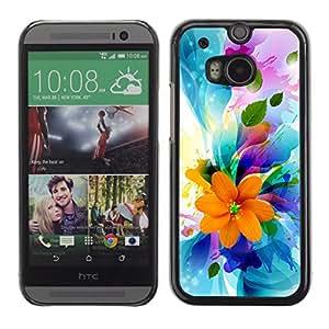 Qstar Arte & diseño plástico duro Fundas Cover Cubre Hard Case Cover para HTC One M8 ( Flowers Spring Colorful Blossom Bouquet)