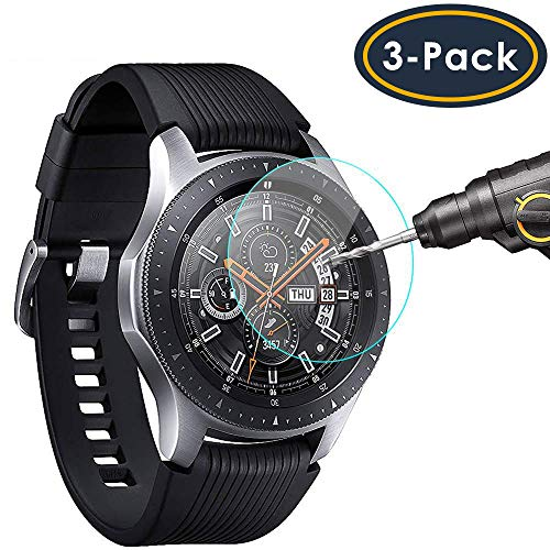 QIBOX Screen Protector Compatible Samsung Galaxy Watch 46mm & Gear S3, Waterproof Tempered Glass Screen Protector Compatible Samsung Gear S3 & Galaxy Watch 46mm 3-Pack[Full Coverage/Scratch Resistant] (Waterproof Phone Cases For Samsung Galaxy S3)