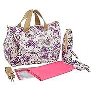 Ecokaki(TM) Fashion Multifunction Diaper Tote Bags Baby Nappy Bag Larger Capacity Mummy Handbag Messenger Bag, Purple Flower