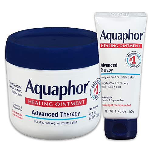 Aquaphor Healing Ointment Multipack - Moisturizing Skin Protectant For Dry Cracked Hands, Heels and Elbows - 14 oz. jar + 1.75 oz. tube (Lips Products For Your)