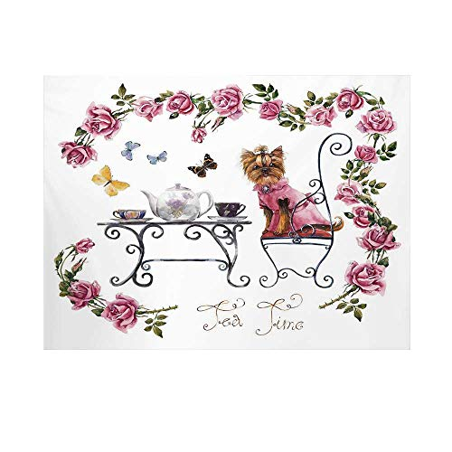 (Yorkie Photography Background,Yorkshire Terrier in Pink Dress Having a Tea Party Tea Time Butterflies Roses Decorative Backdrop for Studio,15x10ft)