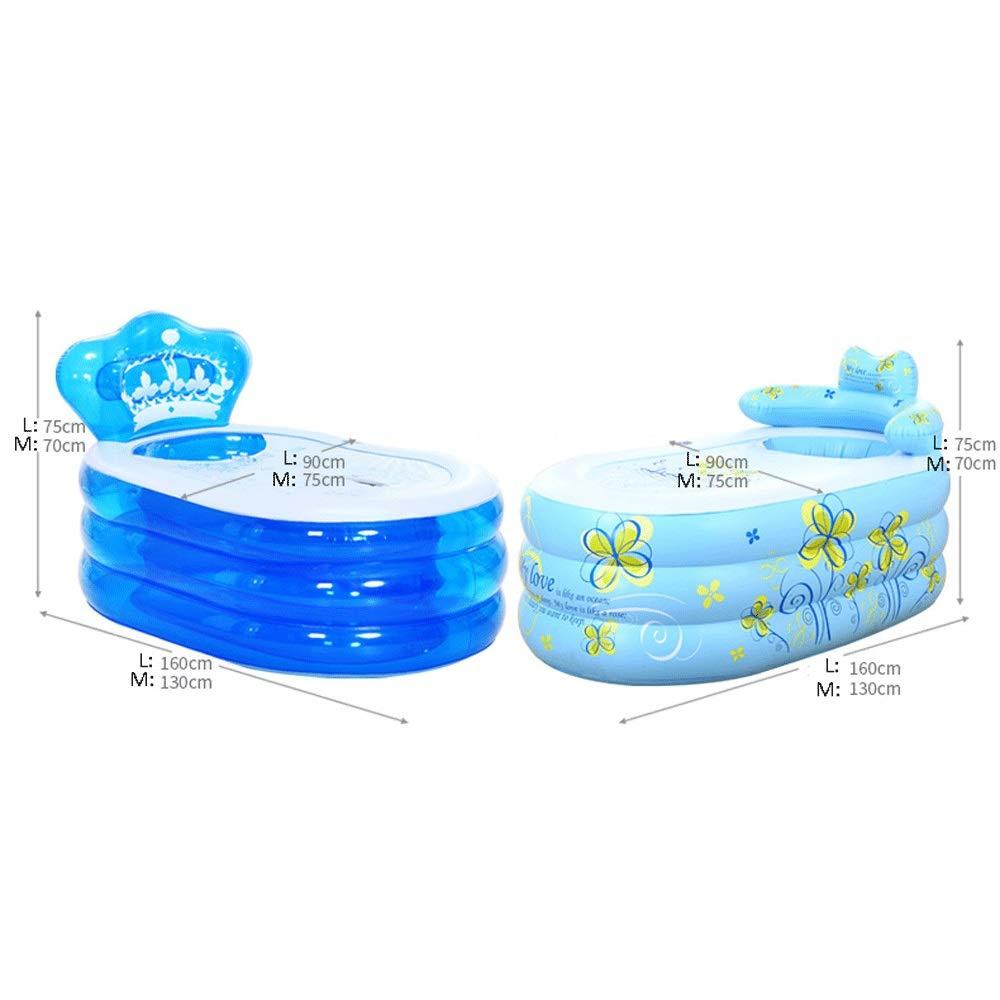 折りたたみ式インフレータブル厚く暖かい大人バスタブ、スパバスタブ、子供用インフレータブルプール、バスバレルプラスチック、ブルー (Color : Blue2, Size : M) B07VQZQ7PV Blue2 M