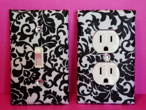Damask Light Switch Plate & Outlet Cover Set of 2 Black & White Floral Damask ALL STYLES AVAILABLE! (Batroom Decor)