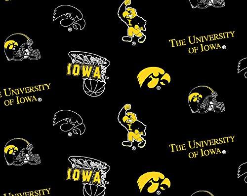 College University of Iowa Hawkeyes Black Fleece Fabric Print By the Yard - College Hut