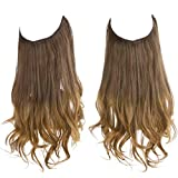 SARLA Ombre Halo Hair Extension Brown to Golden Curly Long Synthetic Hairpiece 16 Inch 3.9 Oz Hidden Wire Headband for Women Heat Resistant Fiber No Clip (M03&10T27)