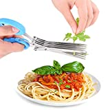 Herb Scissors - Multipurpose Kitchen Shears - 5 Extremely Sharp Stainless Steel Blades - Handy Cleaning Comb - Multi Blade - Time-Saving - Cut, Slice, Chop Herbs Fast