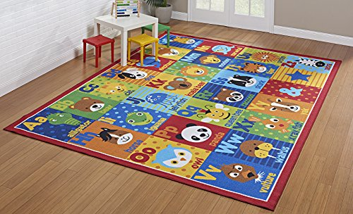 Smithsonian Rug ABC Alphabet Learning Carpets Bedding Play Mat Classroom Decorations Cute Animal Area Rugs 5x7
