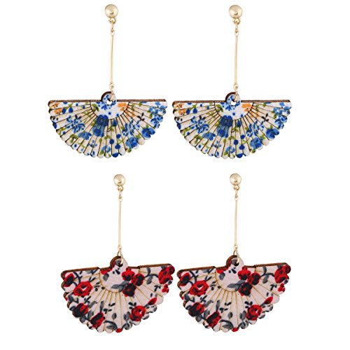 - 2 Pairs Classical Printing Wooden Sector Stud Earrings Fanshaped Dangle Earrings Flower Painting (Red&Blue)