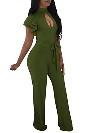 1a92ea35583 Kafiloe Womens Ruffle Short Sleeve Belted Flare Bottom Palazzo Pants Romper  Bodycon One Piece Jumpsuit Outfit