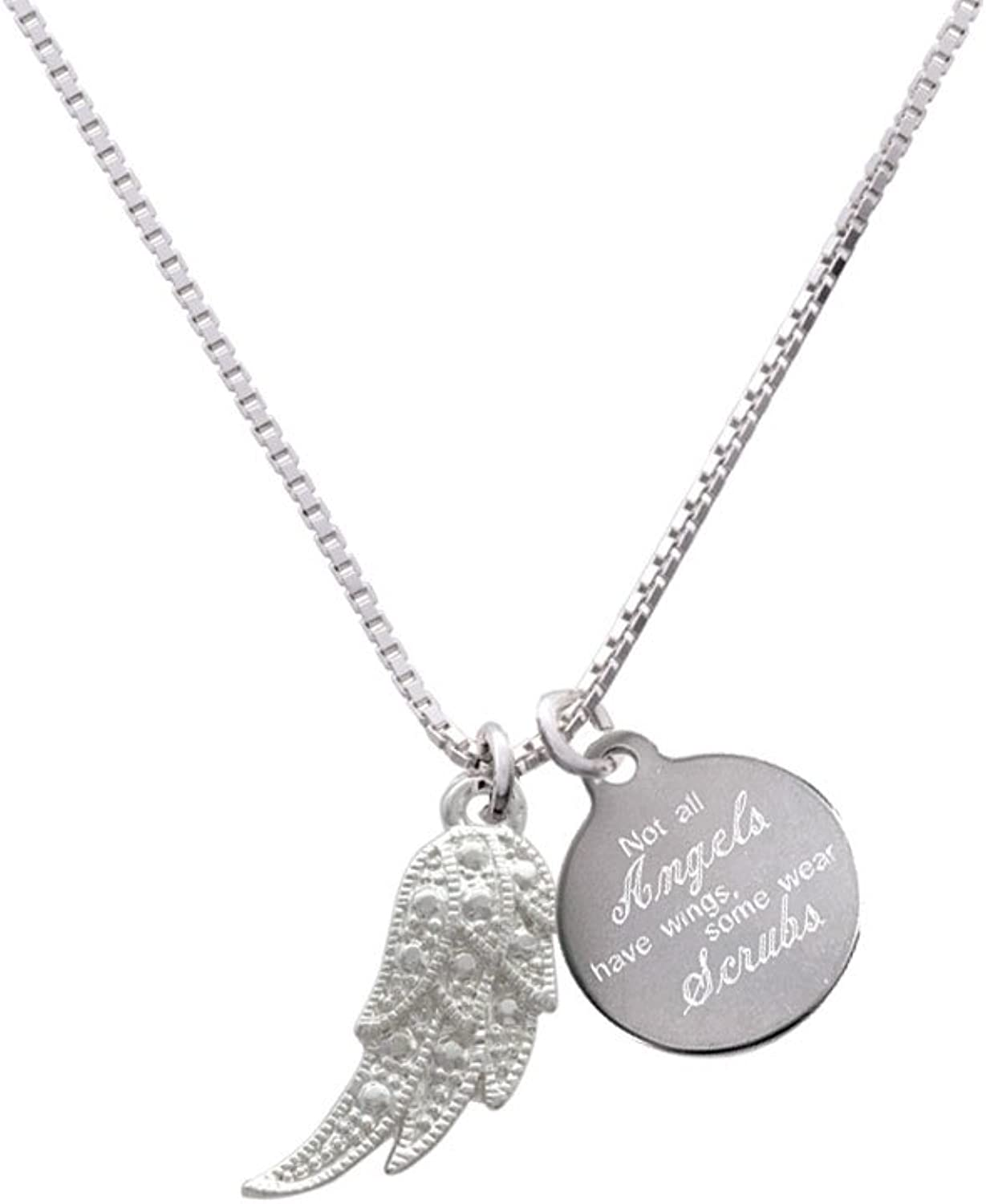 Delight Jewelry Textured Wing Angels Wear Scrubs Engraved Necklace