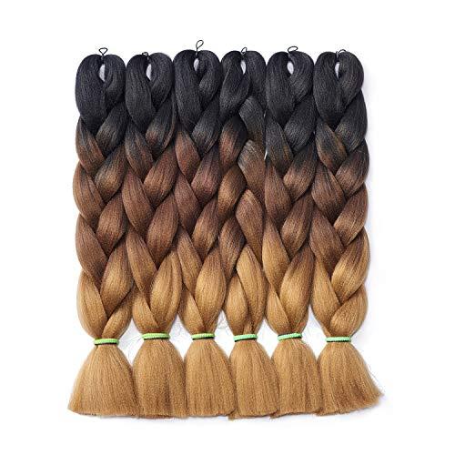 Traininghead Synthetic Fiber Hair Extension Goddess Salon Crochet Ombre Jumbo Braids for Twist Braiding Hair 6Pcs/Lot 24 inch Female (M57#)