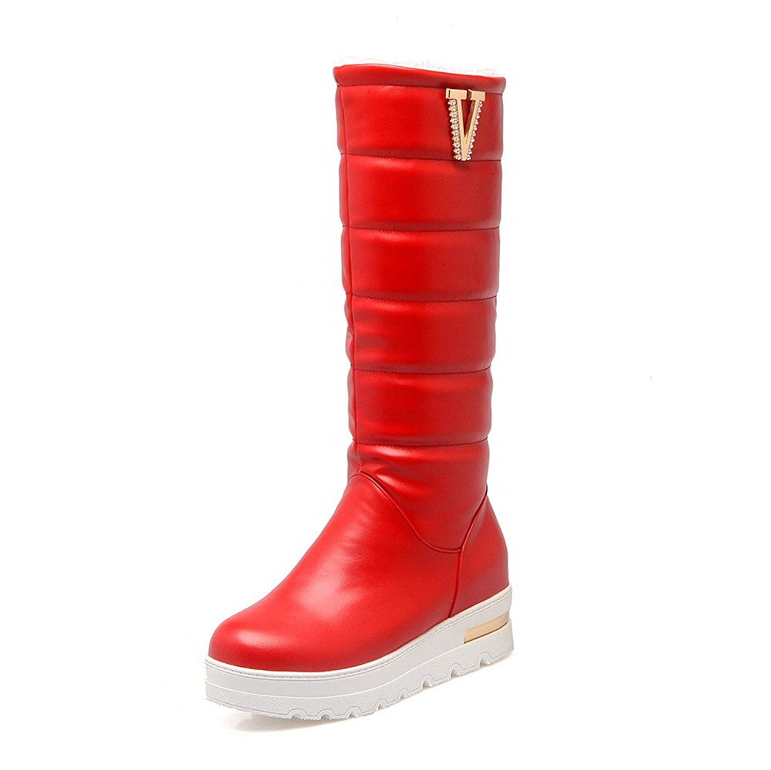VogueZone009 Women's Soft Material Pull-on Round Closed Toe Kitten-Heels High-top Boots