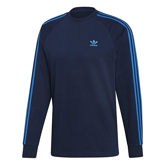 adidas Originals Men's 3-Stripes Long-Sleeve Tee, collegiate Navy/Bluebird, Medium