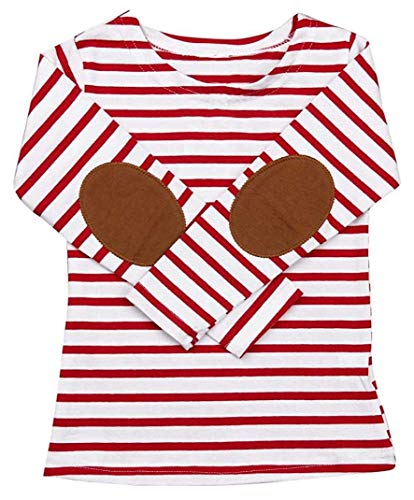 C&M Wodro Baby Girl Boy Winter Long Sleeve Stripe Tops T-Shirt Blouses Autumn Outfits (Red Stripe, 90 (1-2 Years))