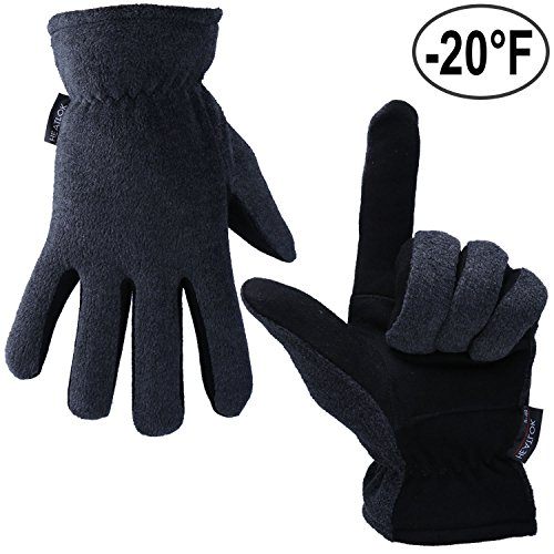 Winter Gloves, OZERO -20ºF Cold Proof Thermal Glove - Genuine Deerskin Suede Leather Palm and Polar Fleece Back with Heatlok Insulated Cotton Layer - Keep Warm in Cold Weather - - Blends Deer Pattern Cotton