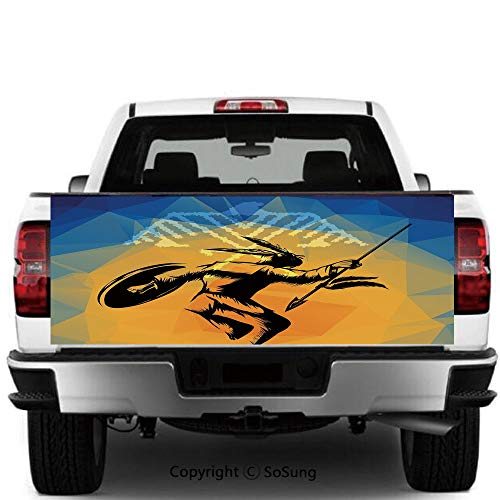 SoSung Native American Vinyl Wall Stickers,War Dance Ritual Against Ancient Totem Poly Effect Triangles Abstract Cars Trucks Decorative Decal Sticker,60x20 Inches,Pale Orange Blue