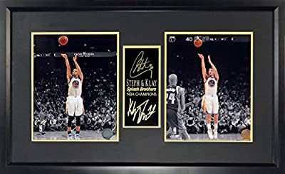 Sports Gallery Authenticated Framed SGA Signature Series Golden State Warriors Stephen Curry and Klay Thompson Splash Brothers Spotlight Champions Display