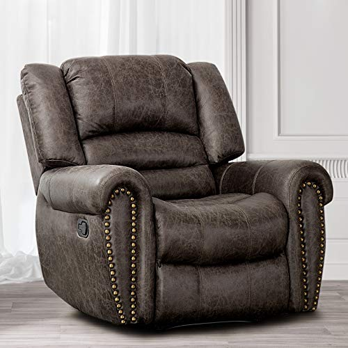 CANMOV Breathable Bonded Leather Recliner Chair, Classic and Traditional Manual Recliner Chair with Overstuffed Arms and Back, Smoke Gray