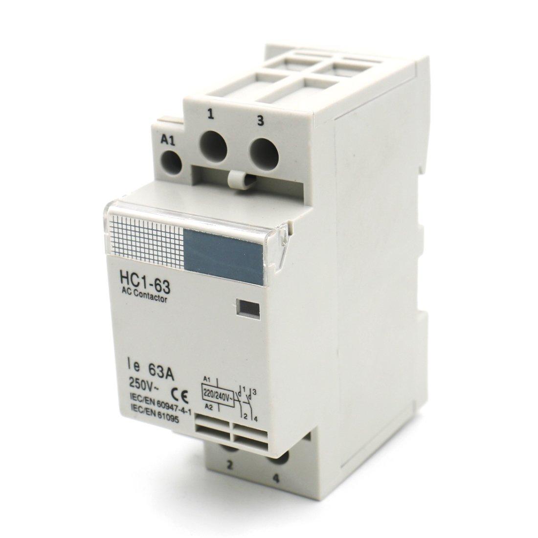 Baomain AC Contactor HC1-63 220V 63A 2 Pole Universal Circuit Control DIN Rail Mount