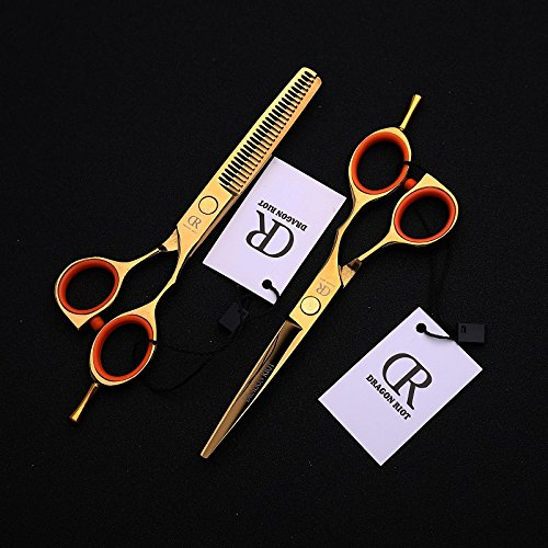 Professional Hair Cutting Scissors Shears Gold 5.5 Inch Hairdressing Salon Hair Styling Tools Adjustable Tension Screw Detachable Finger Rest Japanese 440c Stainless Steel -