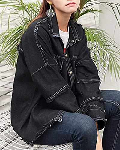 Giubotto Semplice Jacket Jeans Giovane Outerwear Schwarz Donna Colore Autunno Vintage Outdoor Libero Manica Lunga Primaverile Stile Puro Tempo Elegante Modern Glamorous Moda Giaccone wRRqPdf