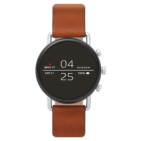 Skagen - Reloj inteligente con pantalla táctil Skagen Connected Falster 2 de acero inoxidable y cuero, Color: Plateado, Marrón - SKT5104
