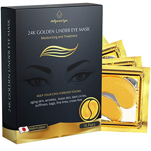 Under Eye Collagen Patch, 24K Gold Anti-Aging Mask, Treatment Pads for Puffy Eyes & Bags, Dark Circles and Wrinkles, with Hyaluronic Acid, Hydrogel, Deep Moisturizing Improves elasticity, 16 Pairs