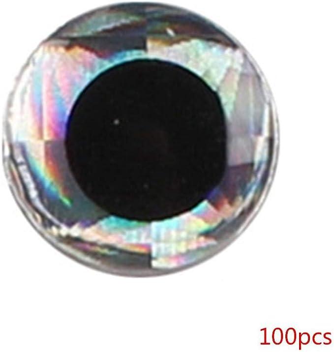 6 mm 3D Ojos atraer a la Pesca de DIY Que Hace Moscas Lure cebos Artificiales Simulaci/ón Ojos de Pescados 100pcs de 4 mm