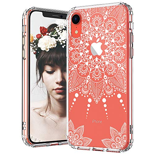 MOSNOVO iPhone XR Case, Clear iPhone XR Case, White Henna Mandala Lace Floral Pattern Clear Design Transparent Back Case with TPU Bumper Protective Case Cover for Apple iPhone XR
