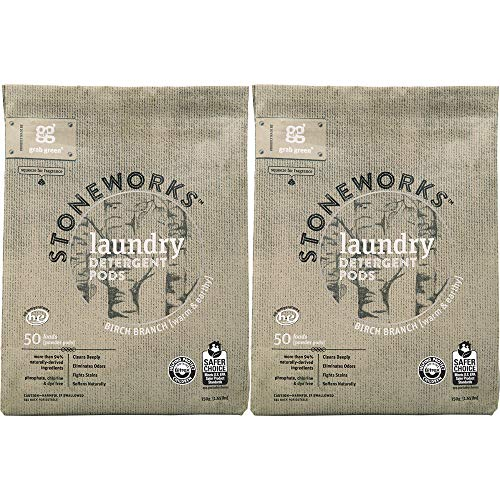 Grab Green Stoneworks Laundry Detergent Pods, Powered by Naturally-Derived Plant & Mineral-Based Powder Pods, Birch Branch, 50 Loads, 2-Pack-EPA Safer Choice Certified