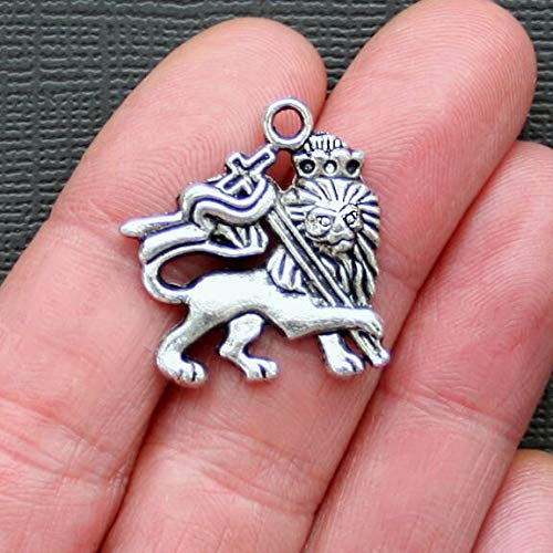 Pendant Jewelry Making for Bracelets and Chains 4 Lion Charms Antique Silver Tone Royal Crest Charm - SC875