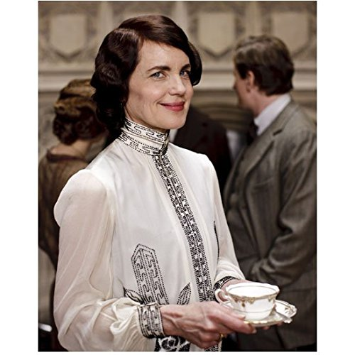 Elizabeth Saucer - Downton Abbey (TV Series 2010 - 2015) 8 inch by 10 inch PHOTOGRAPH Elizabeth McGovern in White Blouse Looking Right Holding Tea Cup & Saucer kn