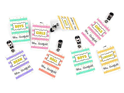Customised Stationery - Teacher Customised Set of 8 Hall Passes, Confetti Themed with Colorful Stripes and Golden Accents - Students Clothes Badges