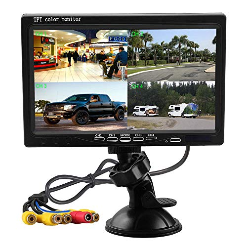 - Podofo 7 Inch HD 4 Split Quad Video Displays TFT LCD Rear View Monitor For Car Backup Camera Kit & Home Surveillance Security System