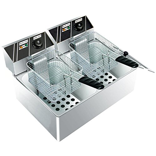 Clevr 11 Liter Capacity Commercial Stainless Steel Deep Fryer Machine 110v Double Two Tank Design by Clevr (Image #2)