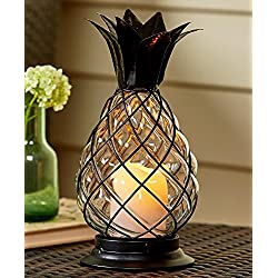Glass Pineapple LED Hurricane Lantern