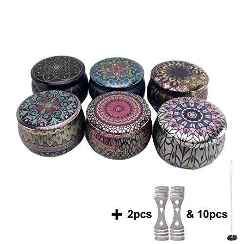 6 Pcs DIY Candle Tin Jars, Candle Making Kits Metal Containers Reusable European Style Candle Holder Storage Case for Homemade Tealights with 10 Pcs Wicks & 2 Pcs Wick Centering Devices