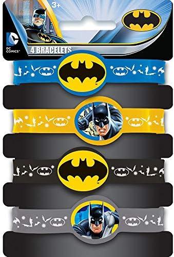 Unique Party - Regalitos para Fiesta - Pulseras de Silicona - Diseño de Batman - Paquete de 4 (49931)