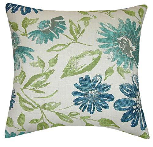TPO Design Sunbrella Violetta Baltic Indoor Outdoor Floral Pillow 18×18