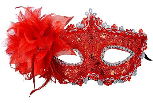 Venetian Style Lace with Rhinestone Liles Costume Masquerade Mardi Mask (Red) (Adult Flower Halloween Costume)