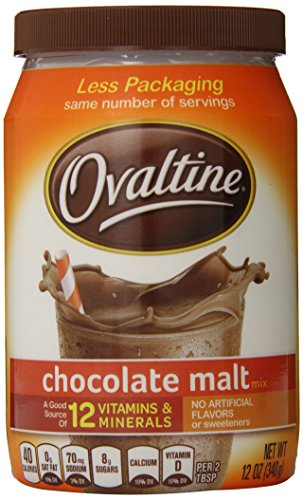 Nestle Ovaltine Chocolate Malt, 12-Ounce Tubs (Pack of 6)