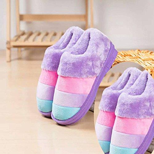LaxBa Femmes Hommes Chaussures Slipper antiglisse intérieur 2Double-girl Purple 36/37+38/39
