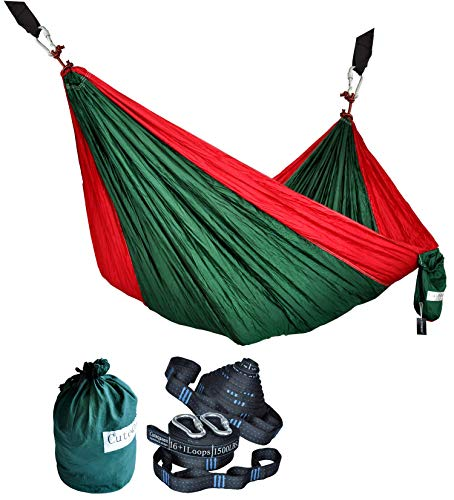 Cutequeen Double Nest Nylon Fabric Hammock with Multi Loops Tree Straps (Dark Green/Red)