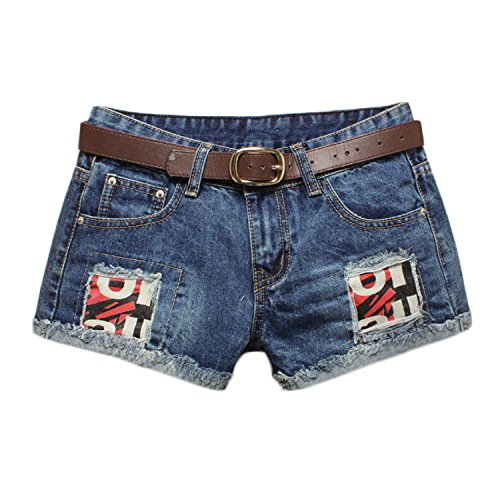 Summer jean Shorts Women Hip hop Denim Shorts Patch Hole Shorts Without Belt Blue M (Yakima Wa Stores)