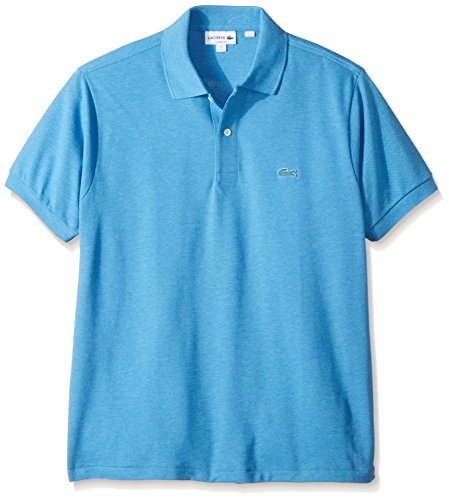 Lacoste Men's Short Sleeve Pique Classic Fit Chine Polo Shirt, L1264, Blue Lagoon Chine, - Classic Adult Polo Pique