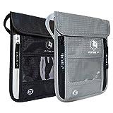 Venture 4th Travel Neck Pouch With RFID Blocking -Travel Wallet Passport Holder (Black + Silver)
